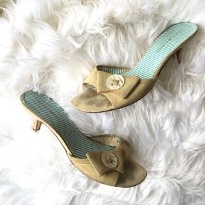 Tommy Hilfiger Khaki Button Bow Kitten Peep Heels